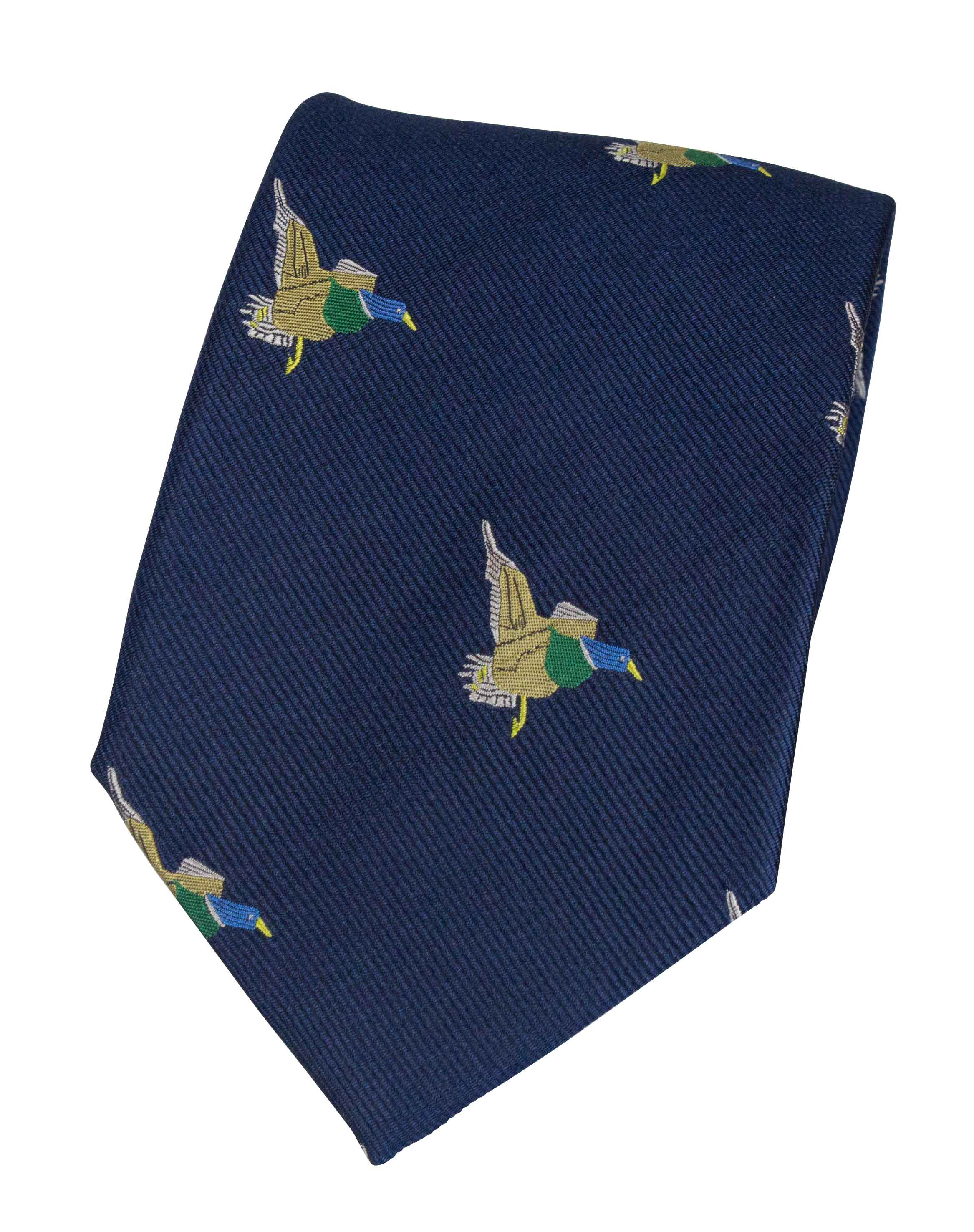 GT10 - 100% Silk Woven Tie / Duck - NAVY - Oxford Blue