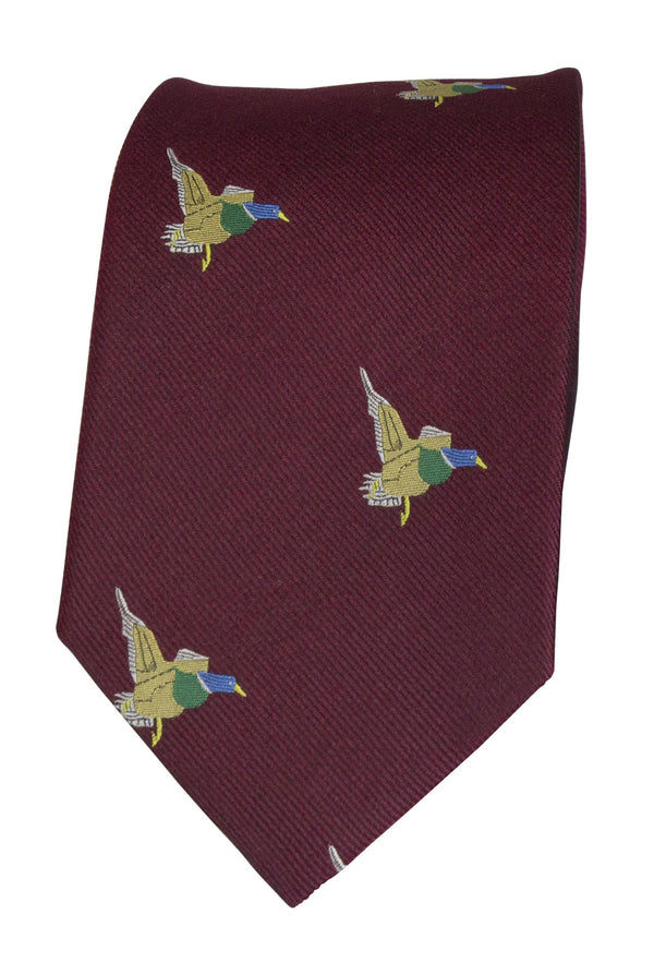 GT10 - 100% Silk Woven Tie / Duck - WINE - Oxford Blue