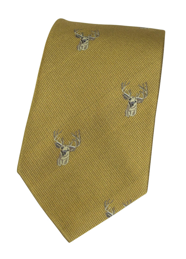 GT11 - 100% Silk Woven Tie - Stag - Oxford Blue