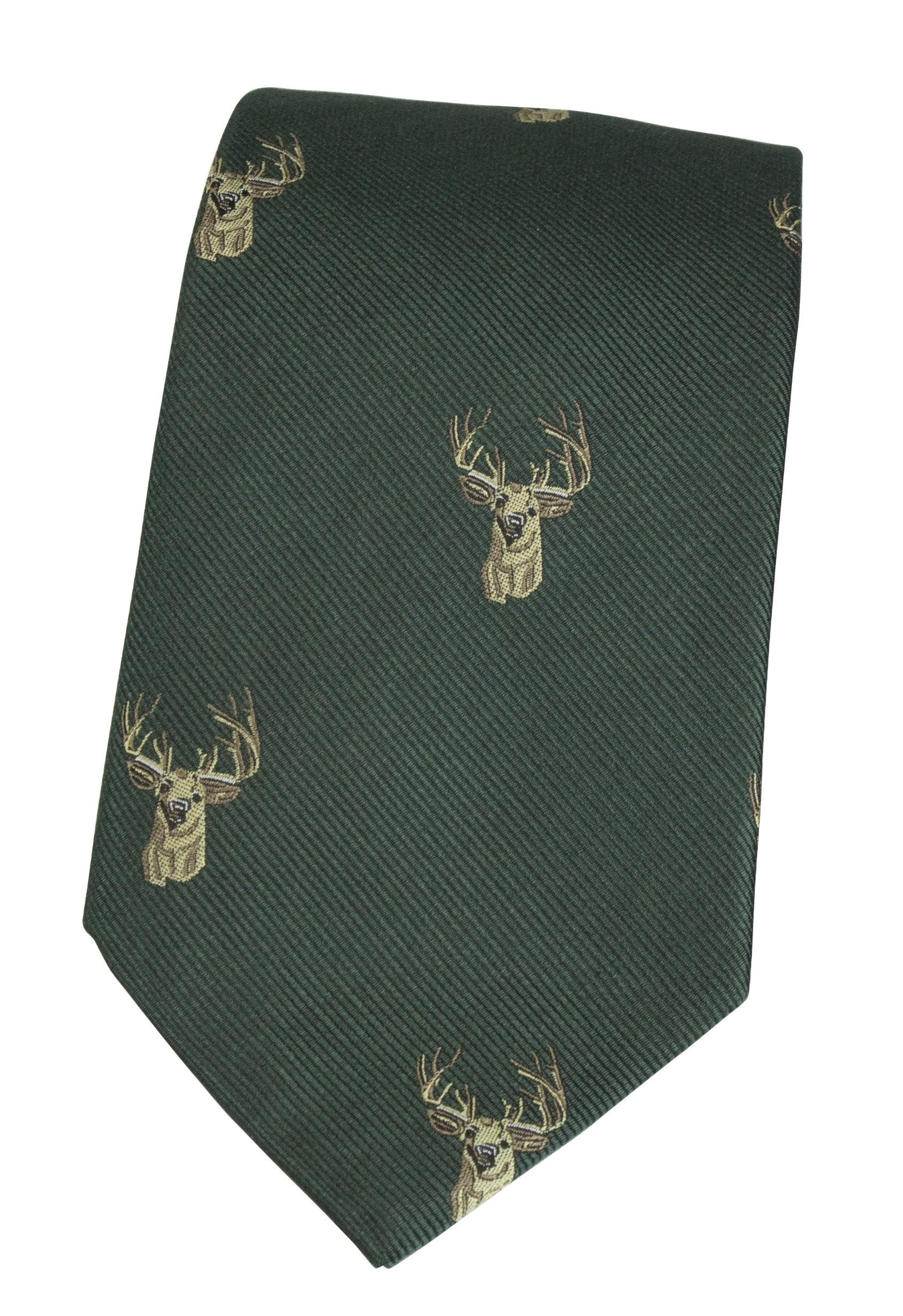 GT11 - 100% Silk Woven Tie - Stag - GREEN - Oxford Blue