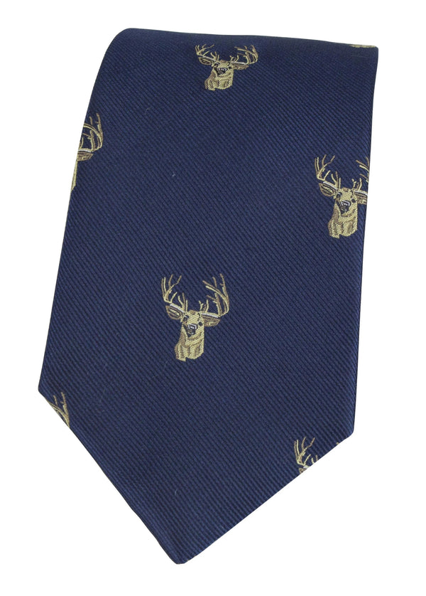 GT11 - 100% Silk Woven Tie - Stag - NAVY - Oxford Blue