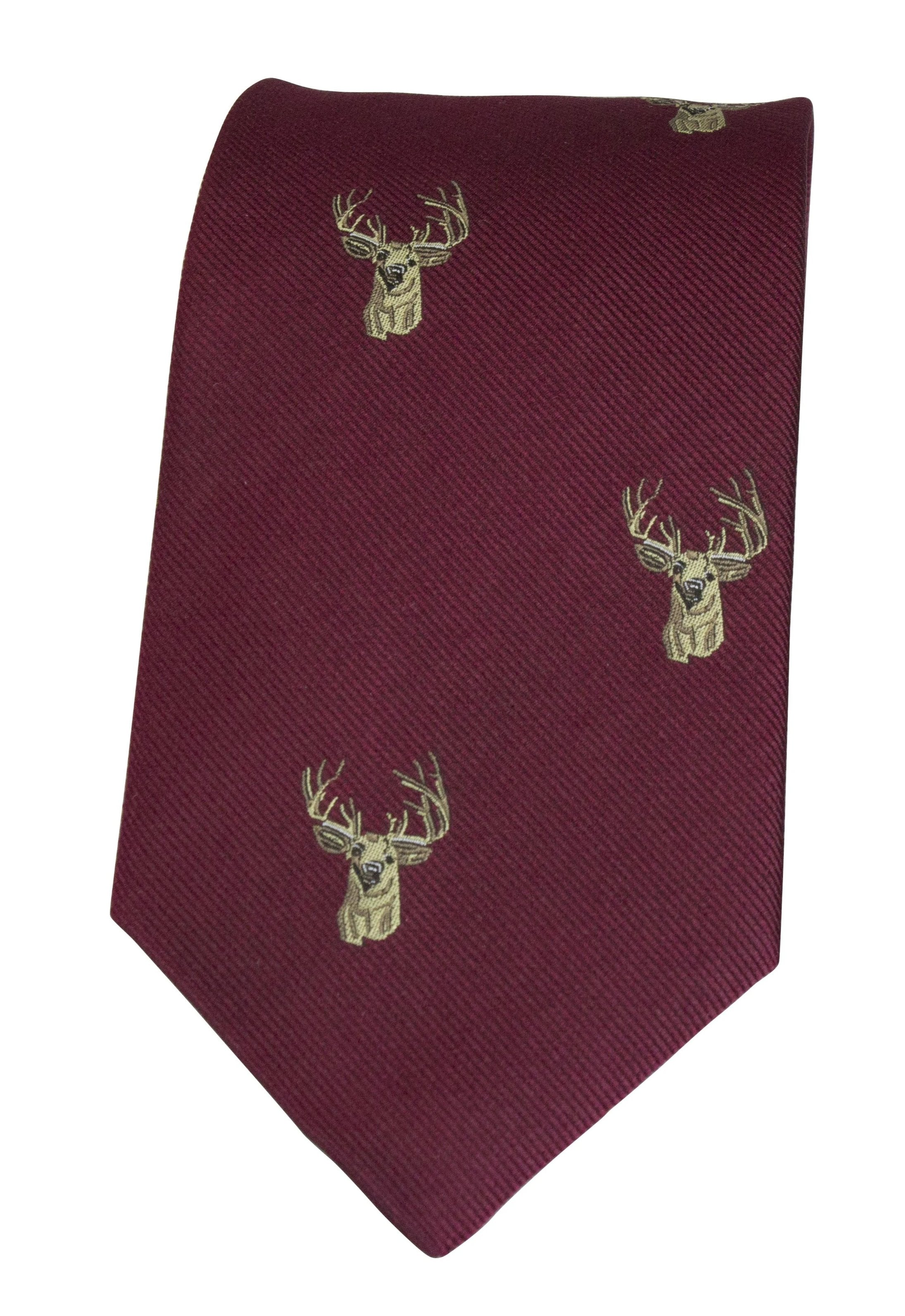 GT11 - 100% Silk Woven Tie - Stag - WINE - Oxford Blue