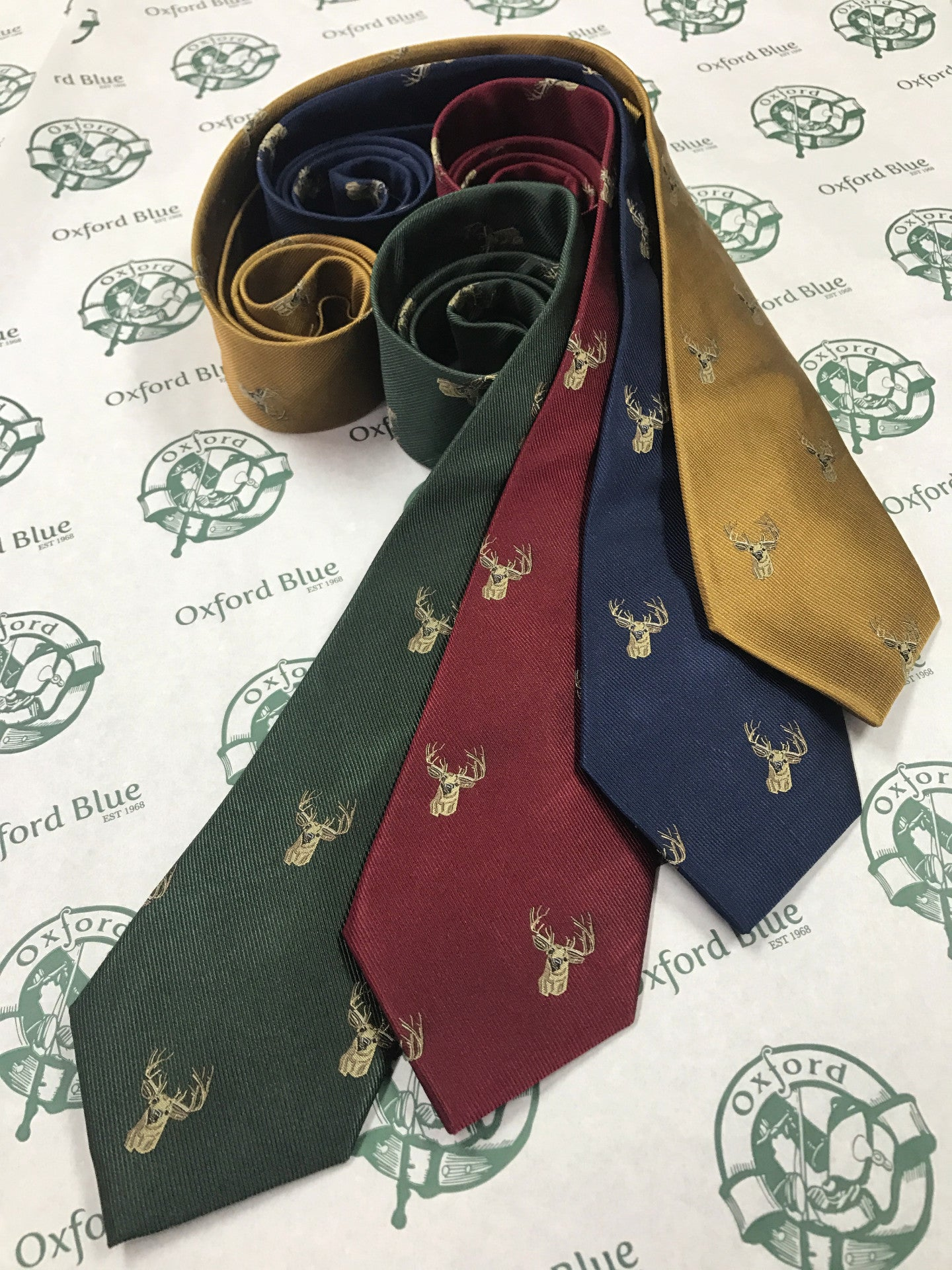 GT11 - 100% Silk Woven Tie - Stag - GOLD - Oxford Blue