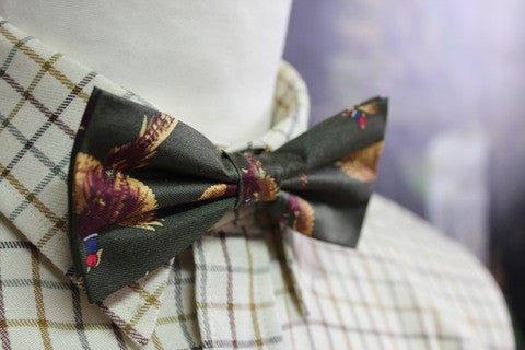 GT5 - Silk Bow Tie - GREEN - Oxford Blue