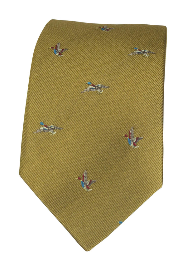 GT8 - 100% Silk Woven Tie - (2 Ducks) - GOLD - Oxford Blue