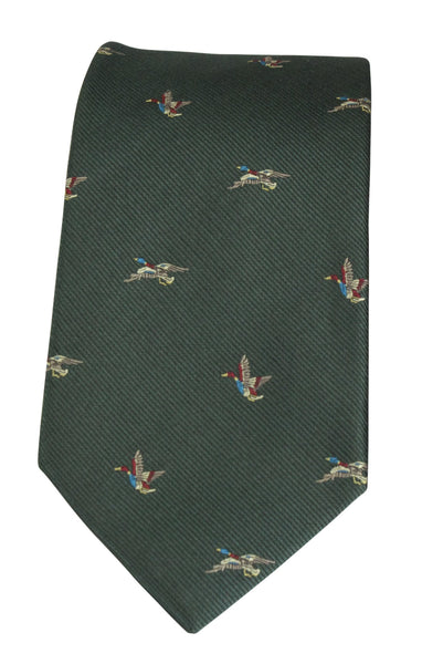 GT8 - WOVEN SILK TIE TWO DUCKS GREEN