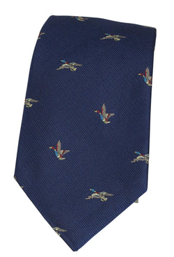 GT8 - WOVEN SILK TIE TWO DUCKS NAVY