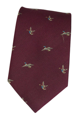 GT8 - WOVEN SILK TIE TWO DUCKS WINE