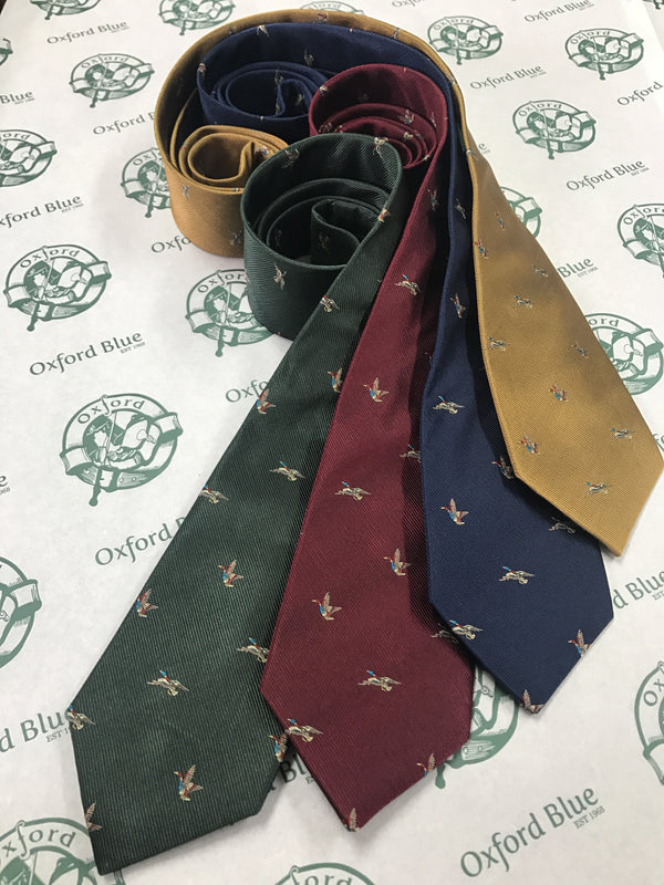 GT8 - 100% Silk Woven Tie - (2 Ducks) - GREEN - Oxford Blue