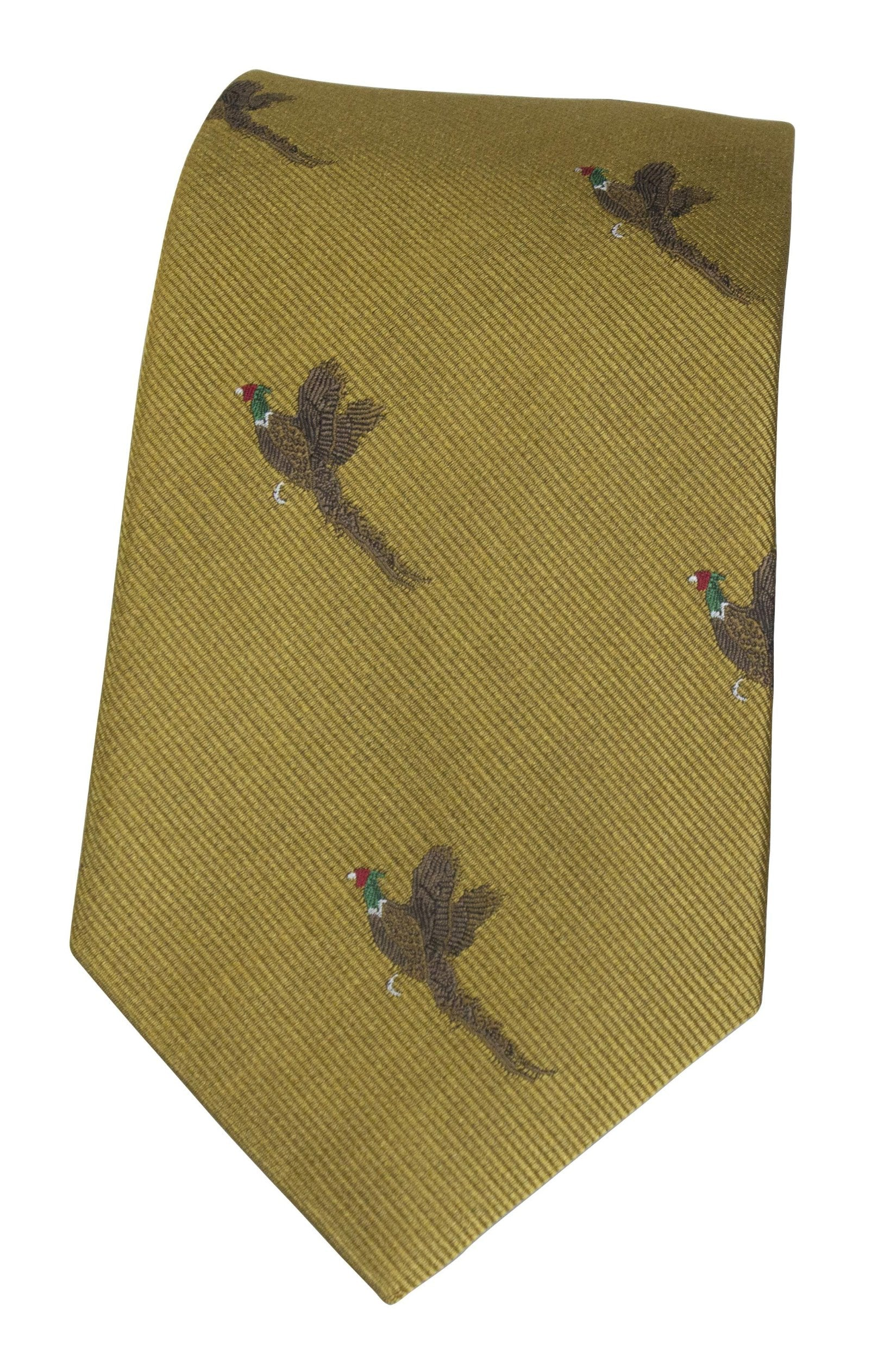GT9 - 100% Silk Woven Tie - Pheasant - GOLD - Oxford Blue