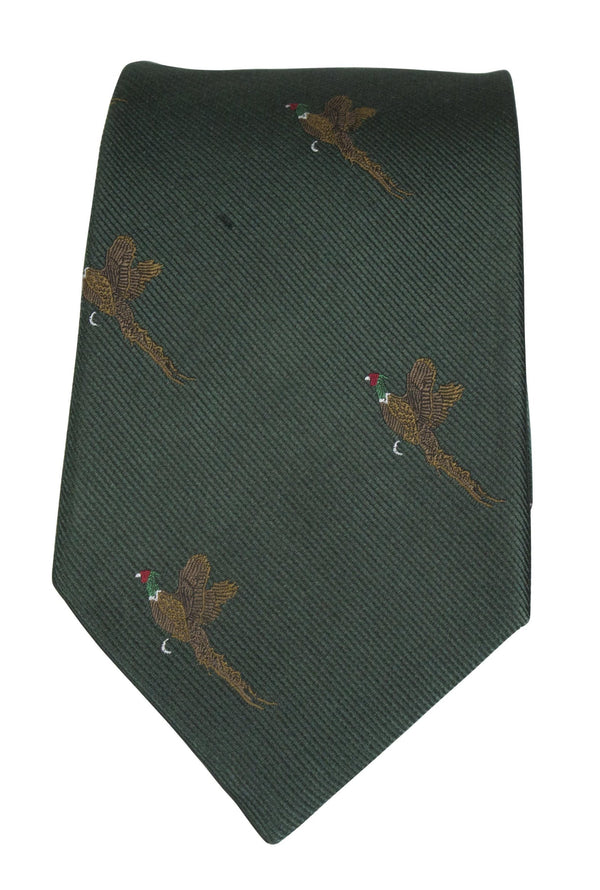 GT9 - 100% Silk Woven Tie - Pheasant - GREEN - Oxford Blue