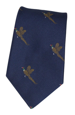 GT9 - 100% Silk Woven Tie - Pheasant - NAVY - Oxford Blue