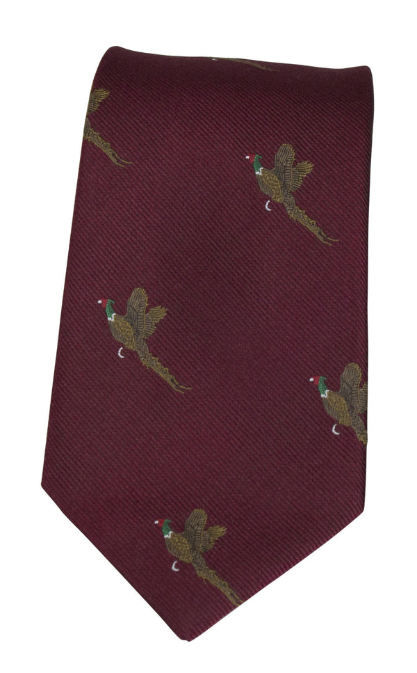 GT9 - 100% Silk Woven Tie - Pheasant - WINE - Oxford Blue