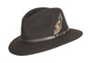 HW01 - Unisex Fedora Wool Hat - BROWN - Oxford Blue