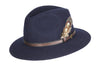 HW01 - Unisex Fedora Wool Hat - NAVY - Oxford Blue