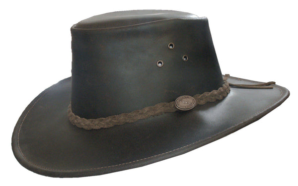 HW08 - Leather Cowhide Aussie Hat - Oxford Blue