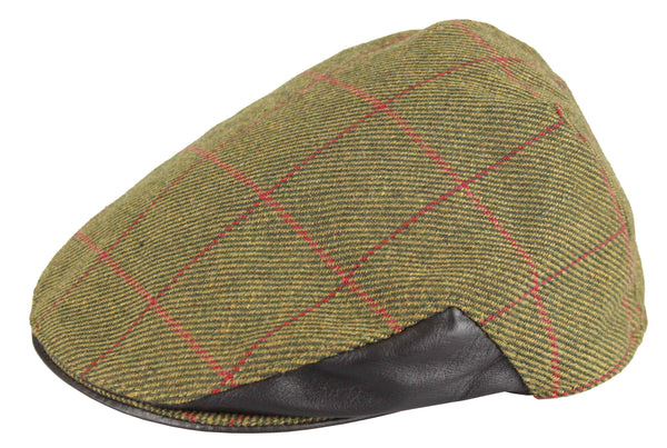 HW32L - Men's Tweed Cap (Leather) - DARK GREEN (5907/51) - Oxford Blue