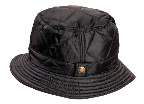 HW34 - Quilted Bush Hat - BLACK - Oxford Blue