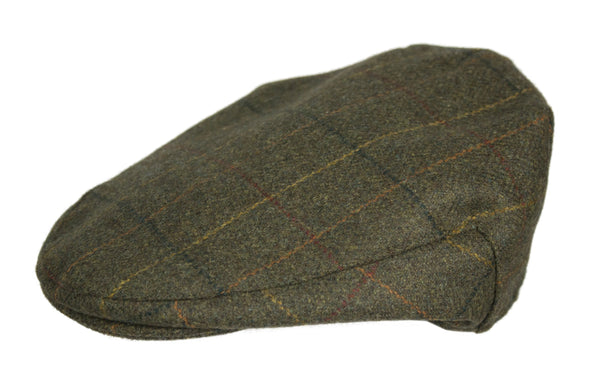 HW35 - Hunter Wool Tweed Flat Cap - GREEN CHECK - Oxford Blue