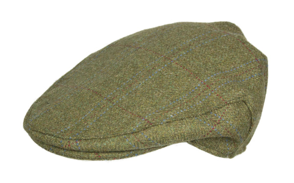 HW35 - Hunter Wool Tweed Flat Cap - OLIVE - Oxford Blue
