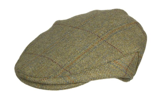 HW35 - Hunter Wool Tweed Flat Cap - WHEAT - Oxford Blue