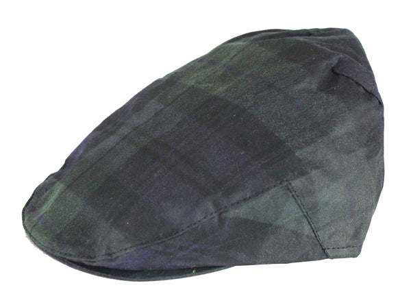 HW49 - Tartan Wax Flat Cap - BLACKWATCH - Oxford Blue
