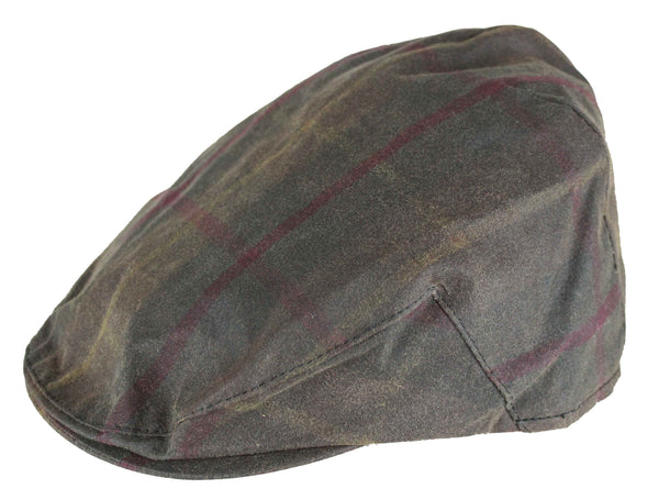 HW49 - Tartan Wax Flat Cap - HONEY - Oxford Blue