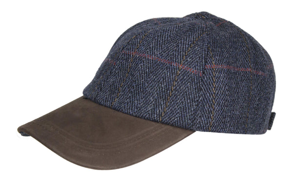 HW59 - Leather Peak Tweed Baseball Cap - NAVY - Oxford Blue