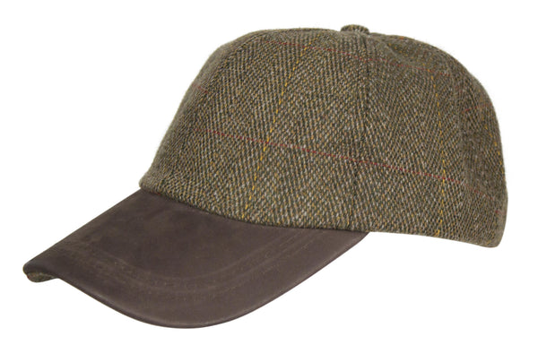 HW59 - Leather Peak Tweed Baseball Cap - BROWN - Oxford Blue