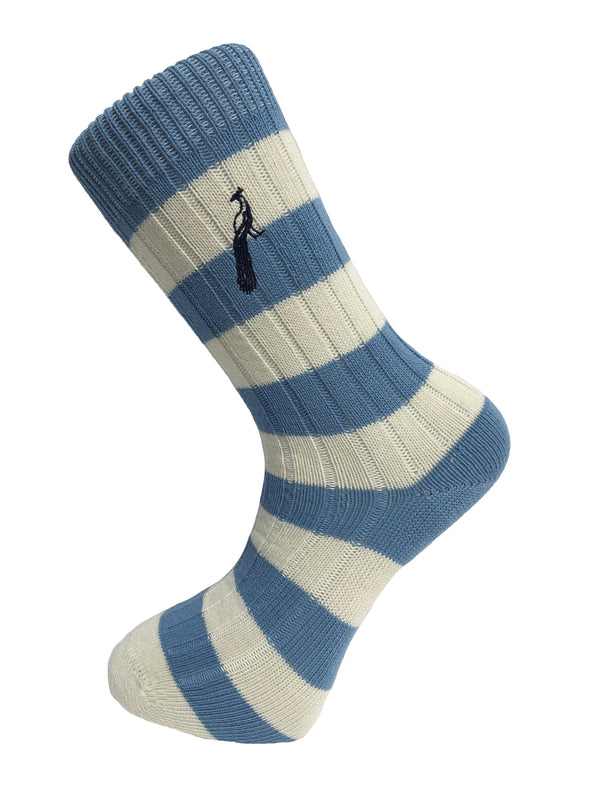 Hortons - Bardwell Stripe Socks Sky Blue & Cream - Oxford Blue