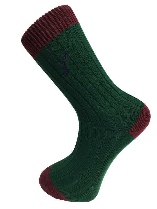 Hortons - Fredrick Sock Green & Burgundy - Oxford Blue
