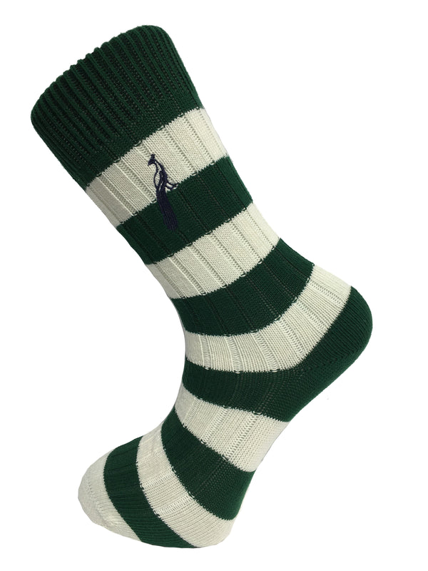 Hortons - Bardwell Stripe Socks Green & Cream - Oxford Blue