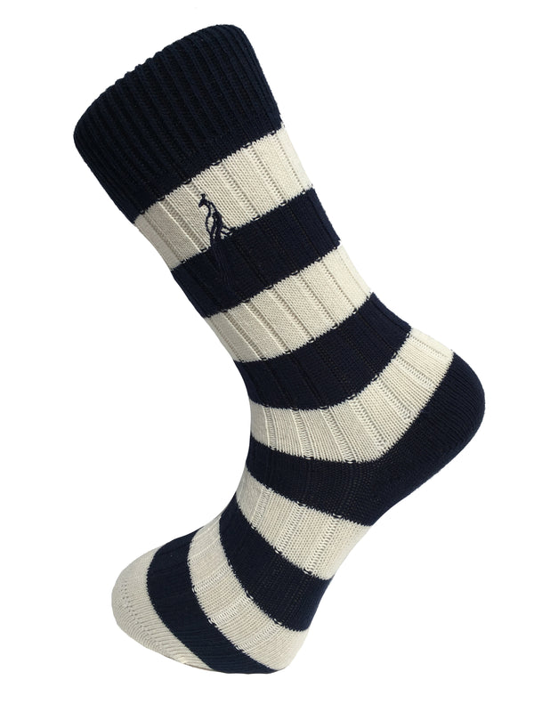 Hortons - Bardwell Stripe Socks Navy & Cream - Oxford Blue