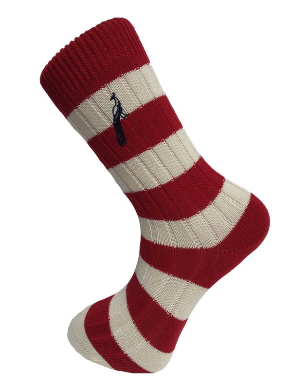 Hortons - Bardwell Stripe Socks Red & Cream - Oxford Blue