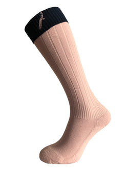Hortons - Ladies Burley Long Socks Pink - Oxford Blue