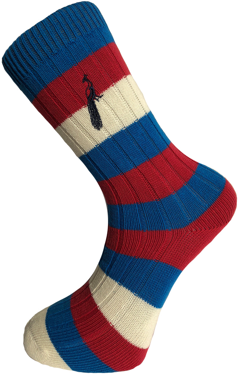 Hortons - Henley Striped Socks Blue/Red/Cream - Oxford Blue