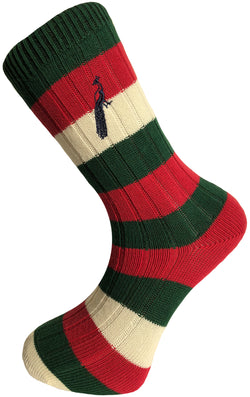 Hortons - Henley Striped Socks Green/Red/Cream - Oxford Blue