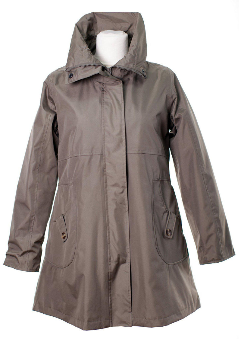 LJ064 - Women's New England Coat - DARK BEIGE - Oxford Blue