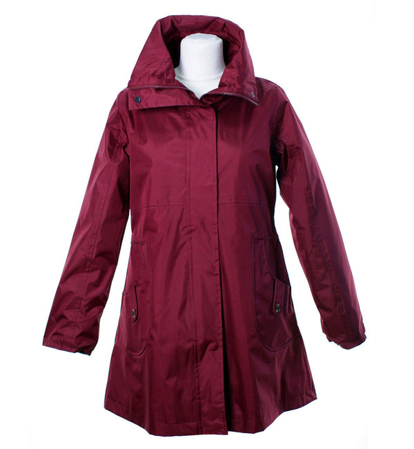 LJ064 - Women's New England Coat - WINE - Oxford Blue