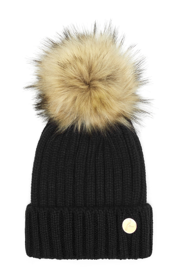 Hortons Meribel pom pom hat black
