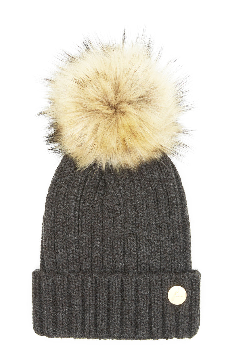 Hortons Meribel pom pom hat Charcoal Grey