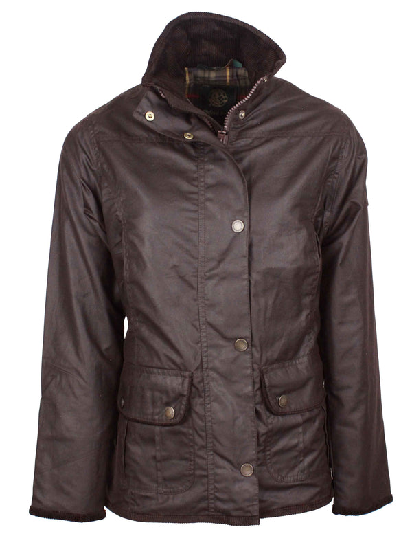 W03 - Women's Eltham Wax Jacket - BROWN - Oxford Blue