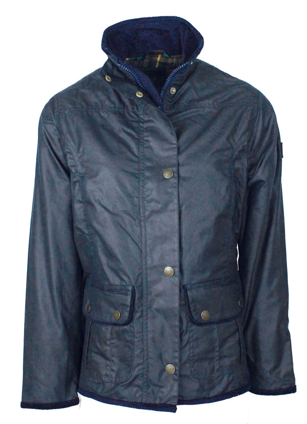 W03 - Women's Eltham Wax Jacket - NAVY - Oxford Blue