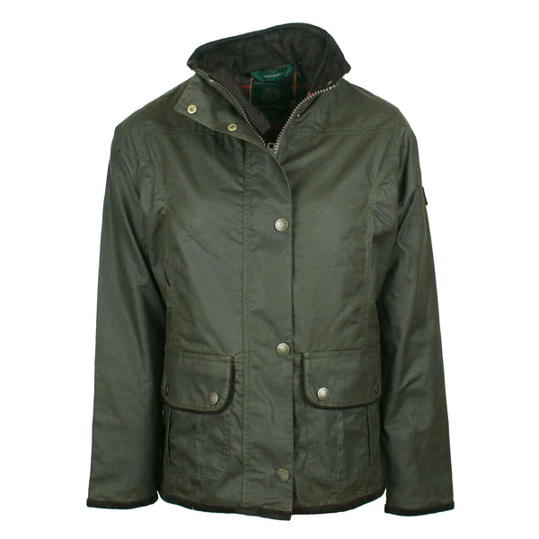 W03 - Women's Eltham Wax Jacket - OLIVE - Oxford Blue