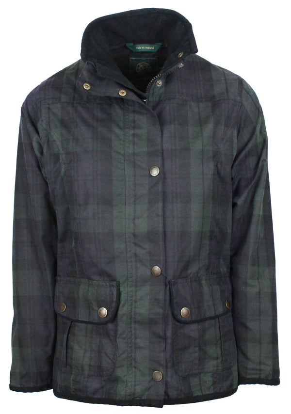 W04 - Women's Tartan Eltham Wax Jacket - BLACKWATCH - Oxford Blue