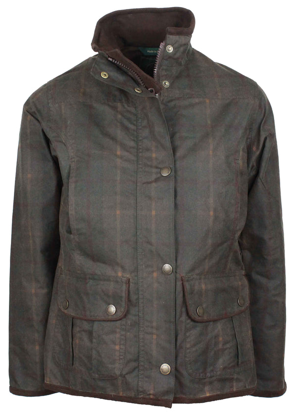 W04 - Women's Tartan Eltham Wax Jacket - HONEY - Oxford Blue