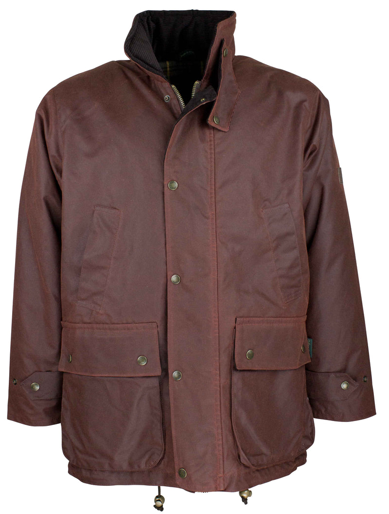 W05 - Men's Kingsbridge Padded Wax Antique Coat - CHESTNUT - Oxford Blue