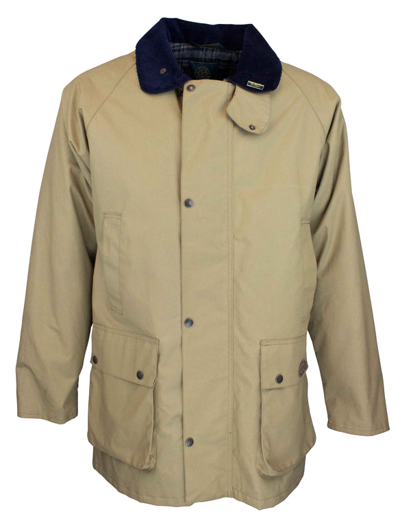 W06 - Men's Hampton Jacket (Staywax) - BEIGE - Oxford Blue