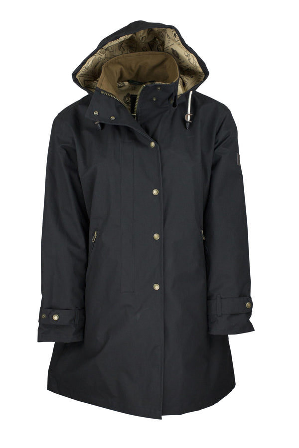 W08 - Ladies Brighton Staywax Parka - BLACK - Oxford Blue