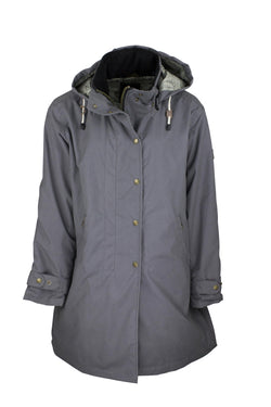 W08 - Ladies Brighton Staywax Parka - GREY - Oxford Blue